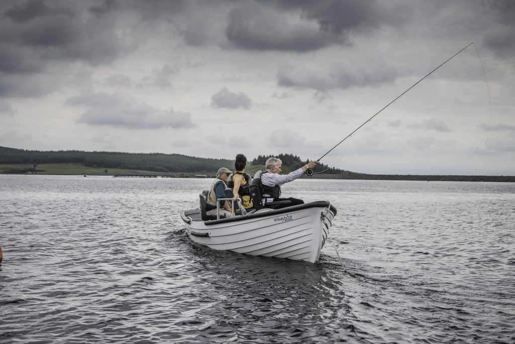 The Coulam Wheelyboat in action at Llyn Brenig